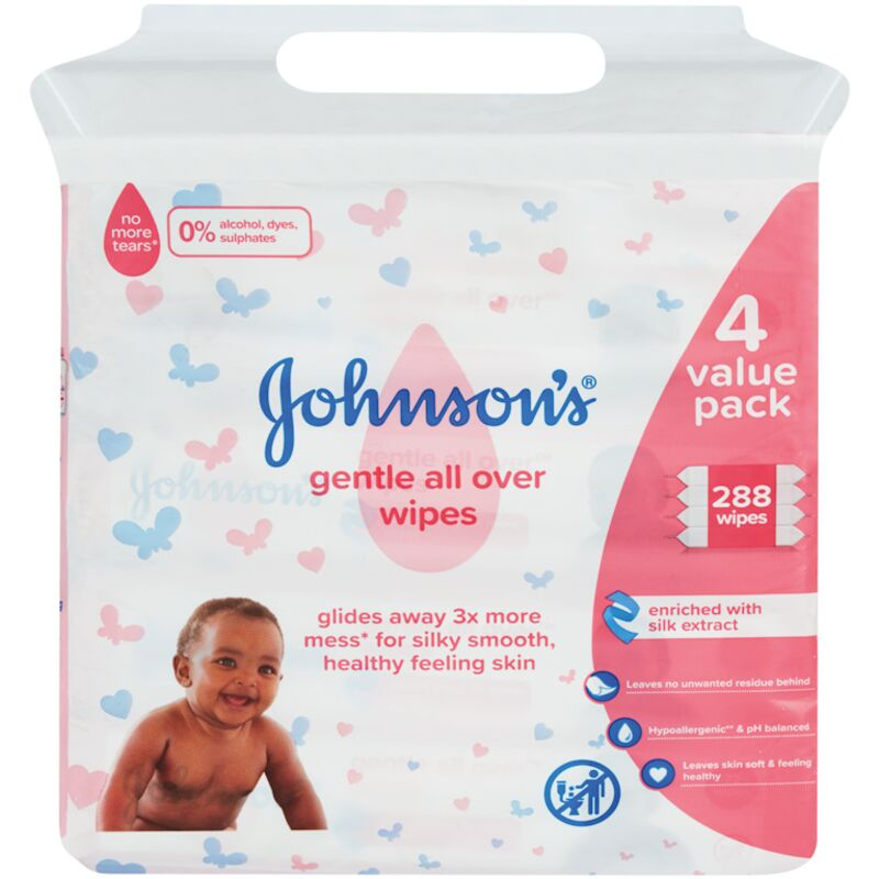 JOHNSONS BABY GENTLE ALL OVER WIPES – 288S