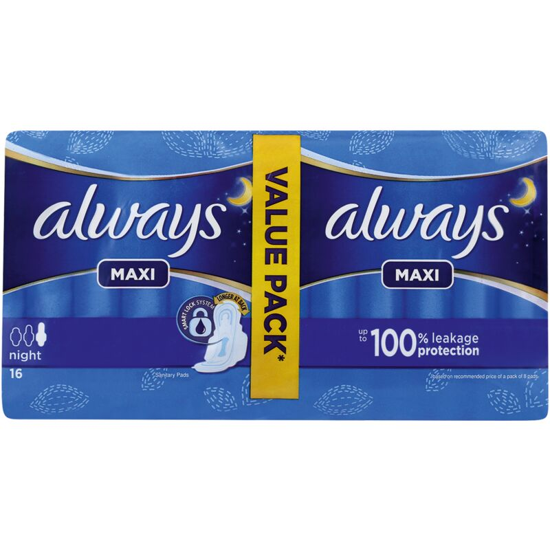ALWAYS MAXI NIGHT DUO PADS WITH WINGS – 16S