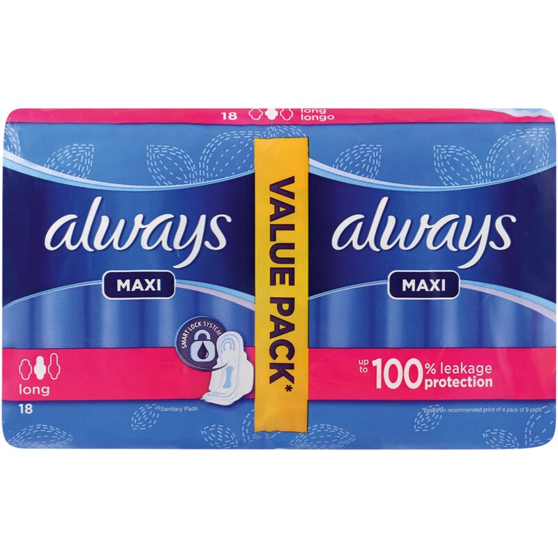 ALWAYS MAXI SUPER PLUS DUO PADS WITH WINGS – 18S
