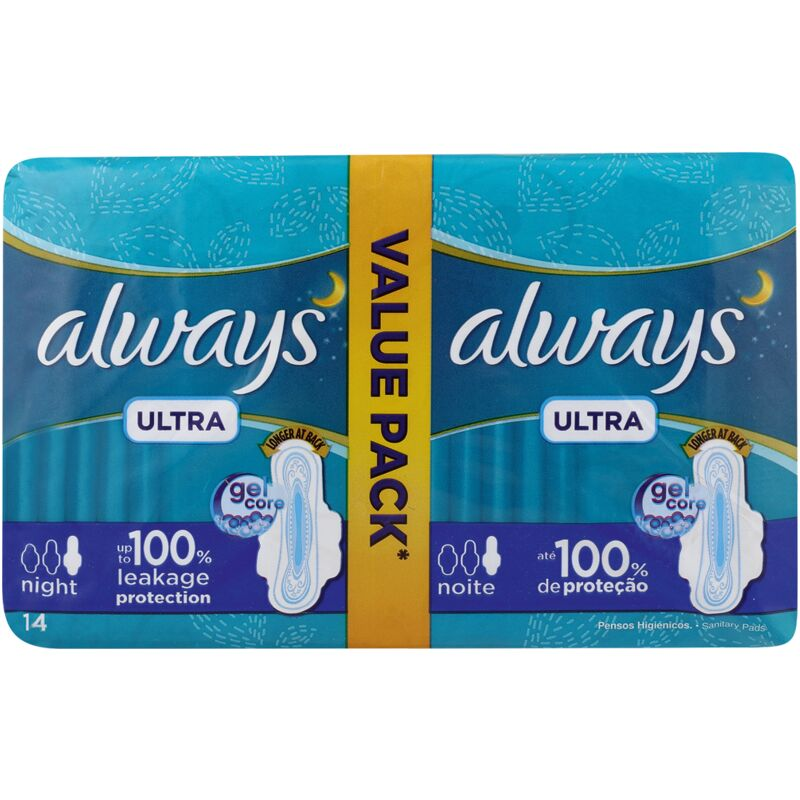ALWAYS ULTRA NIGHT PADS WITH WINGS – 14S