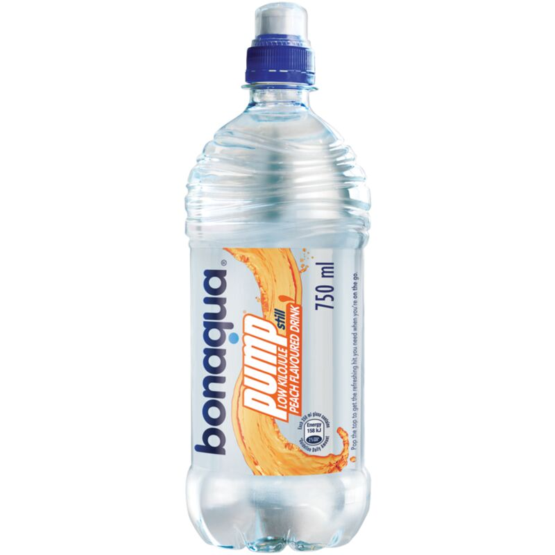 BONAQUA PUMP PREP STILL WATER PEACH – 750ML