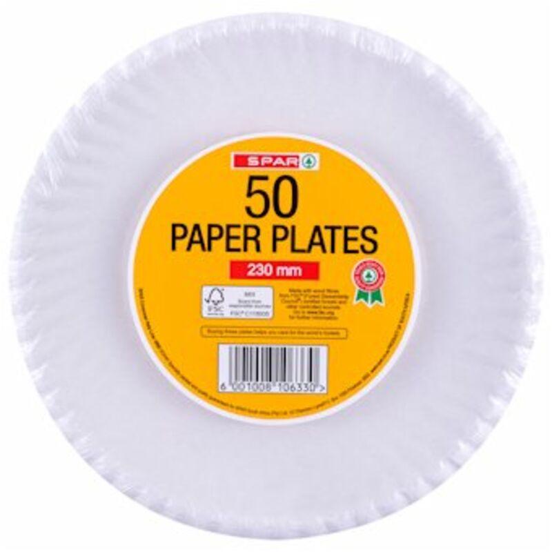 SPAR PAPER PLATES 230MM – 50S