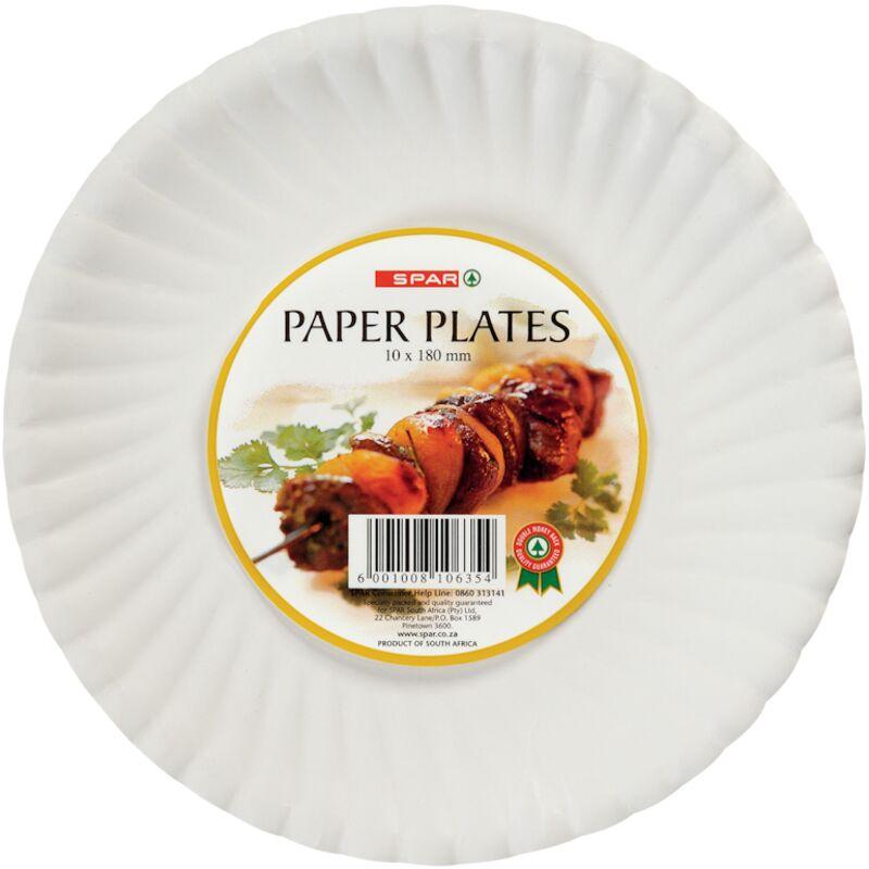 SPAR PAPER PLATES 180MM – 10S