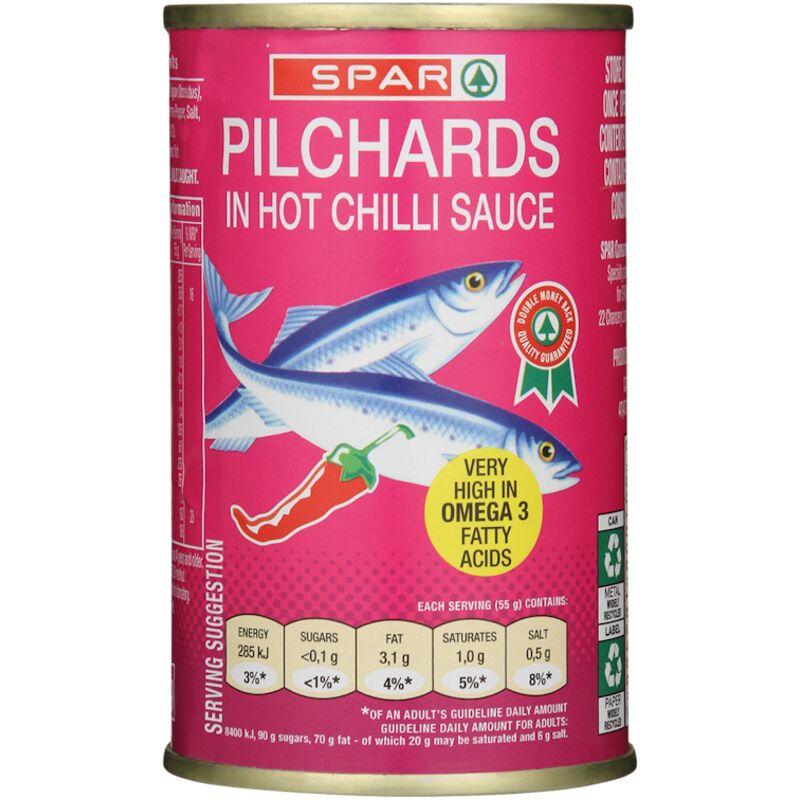 SPAR PILCHARDS IN HOT CHILLI SAUCE – 155G