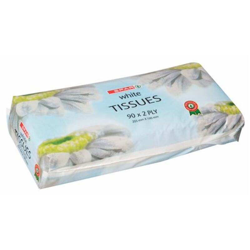 SPAR 2PLY WHITE SOFT PACK FACIAL TISSUES – 90S