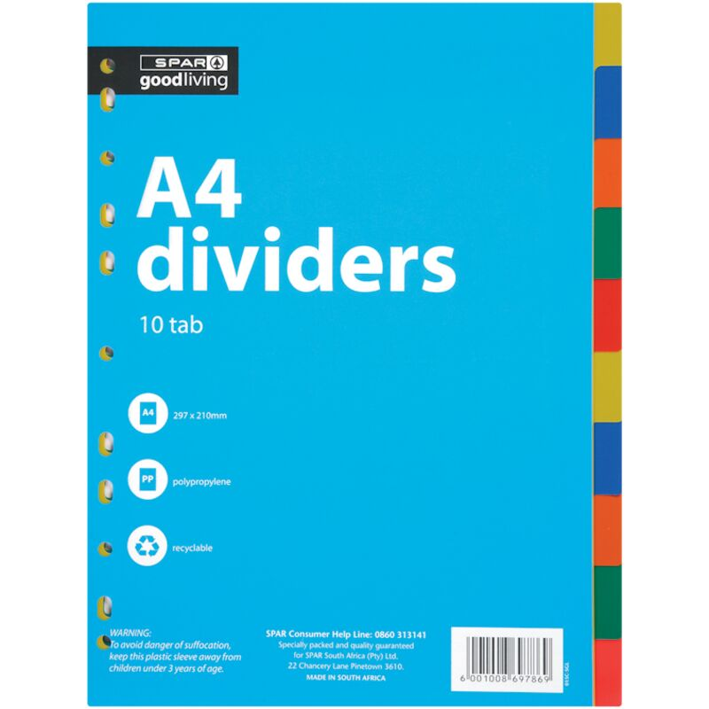 GOOD LIVING DIVIDERS POLY 10 TAB – 1S