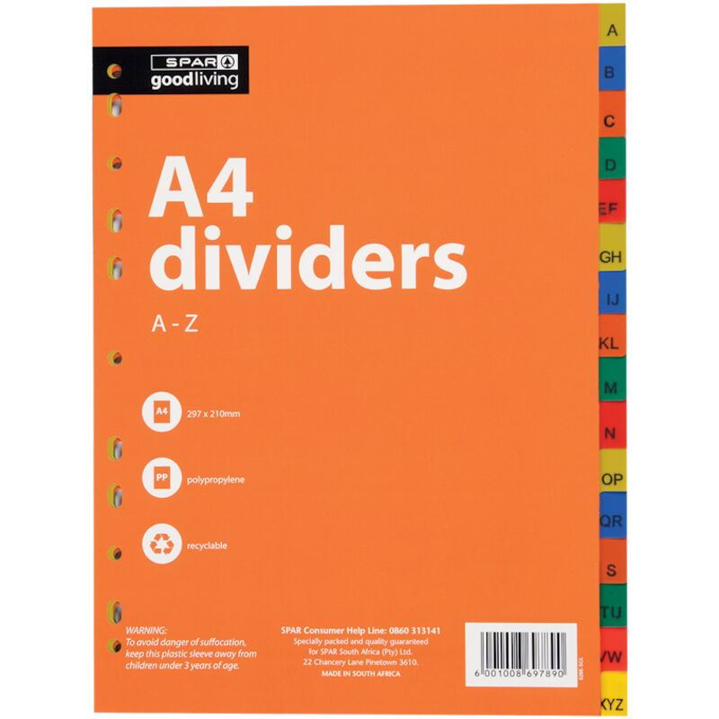 GOOD LIVING DIVIDERS A-Z – 1S