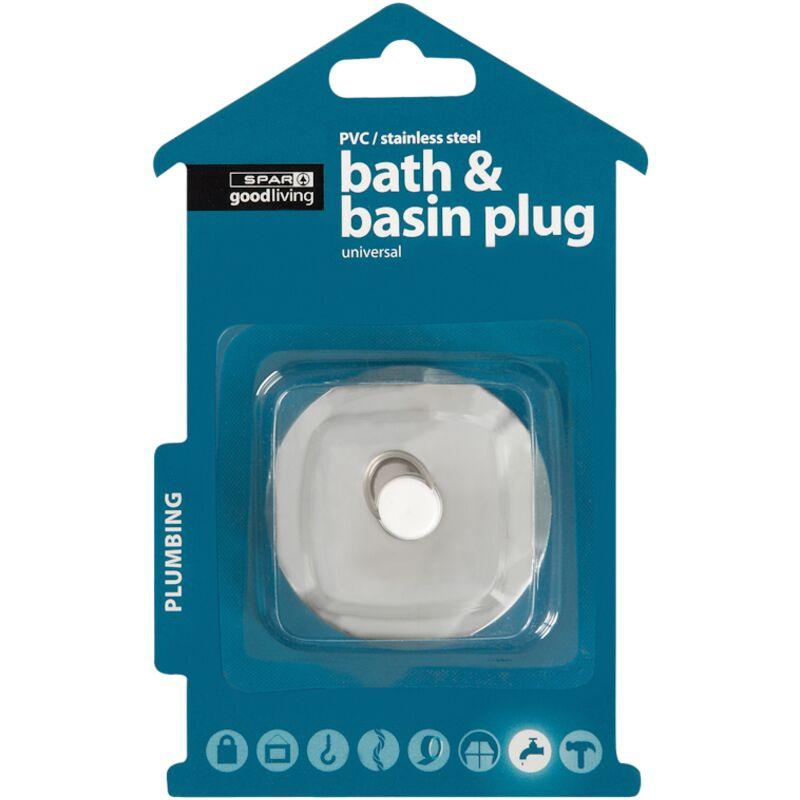 GOOD LIVING BATH/BASIN PLUG UNIVERSAL PVC STAINLESS STEEL – 1S