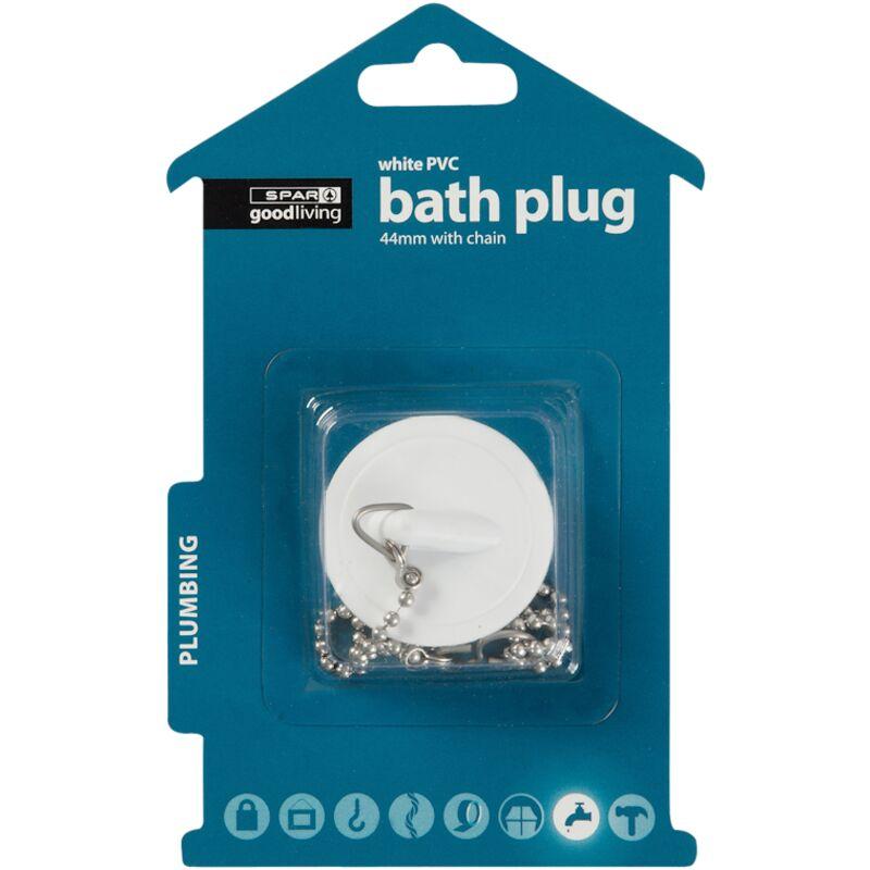 GOOD LIVING BATH PLUG PVC WHITE 44MM WITH CHAIN – 1S