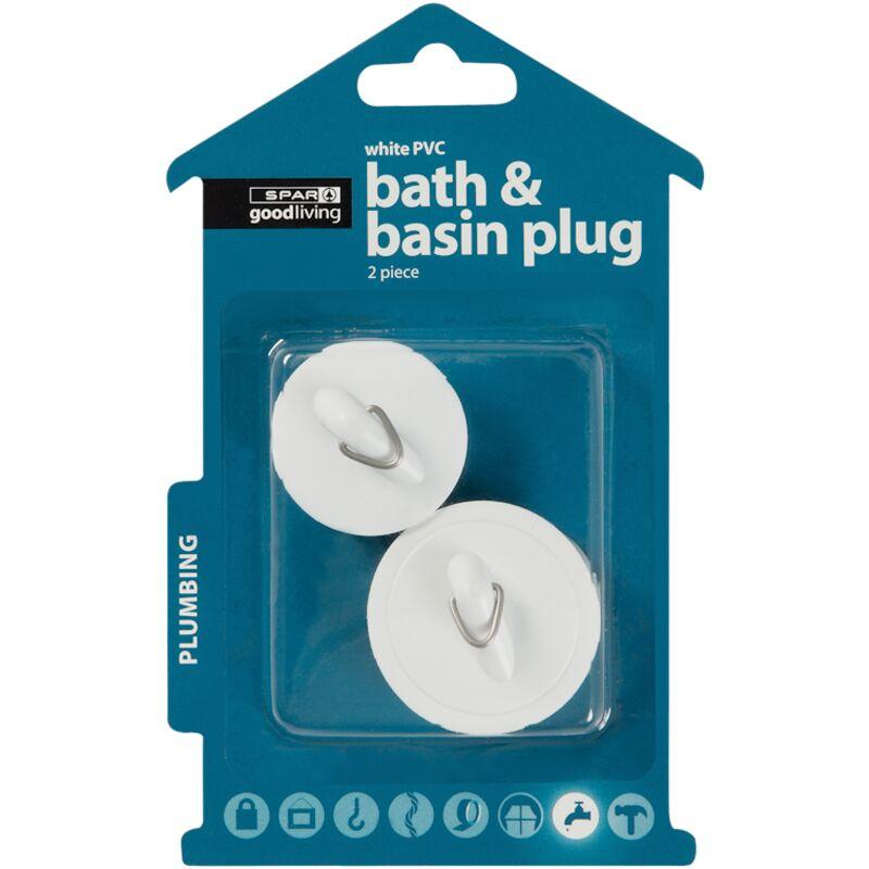 GOOD LIVING BATH AND BASIN PLUG PVC WHITE 2PIECE – 1S