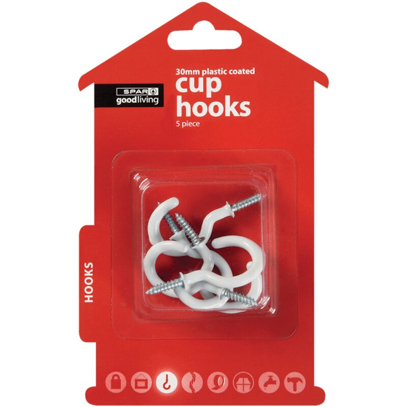 GOOD LIVING CUPHOOKS WHITE PLASTIC COATED 30MM 50PIECE – 5S