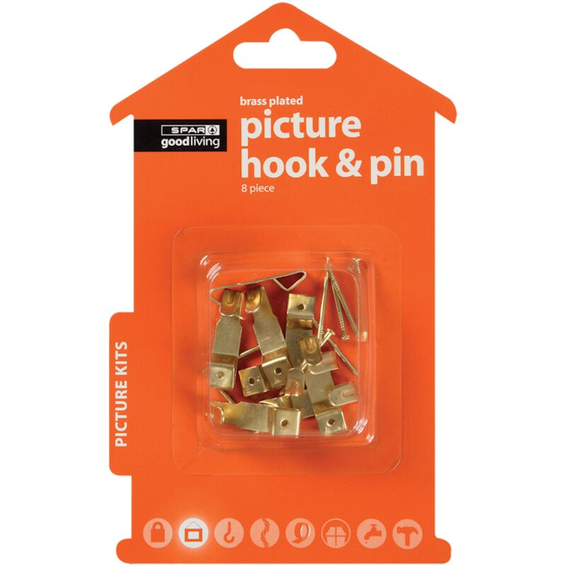 GOOD LIVING PICTURE HOOK PIN BRASS PLATED 8PIECE – 1S