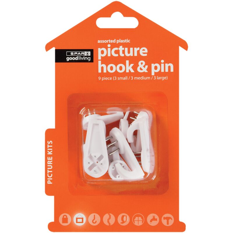 GOOD LIVING PICTURE HOOK PIN ASSORTED 9PIECE – 1S