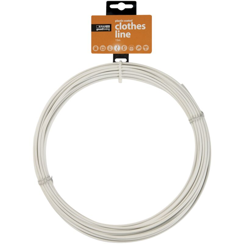 GOOD LIVING CLOTHES LINE PLASTIC COATED 15M HOOK – 1S