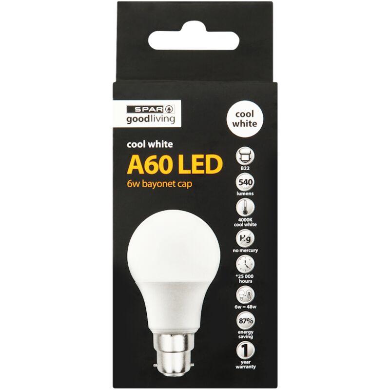 GOOD LIVING LED GLOBE A60 BC COOL WHITE 65W – 1S
