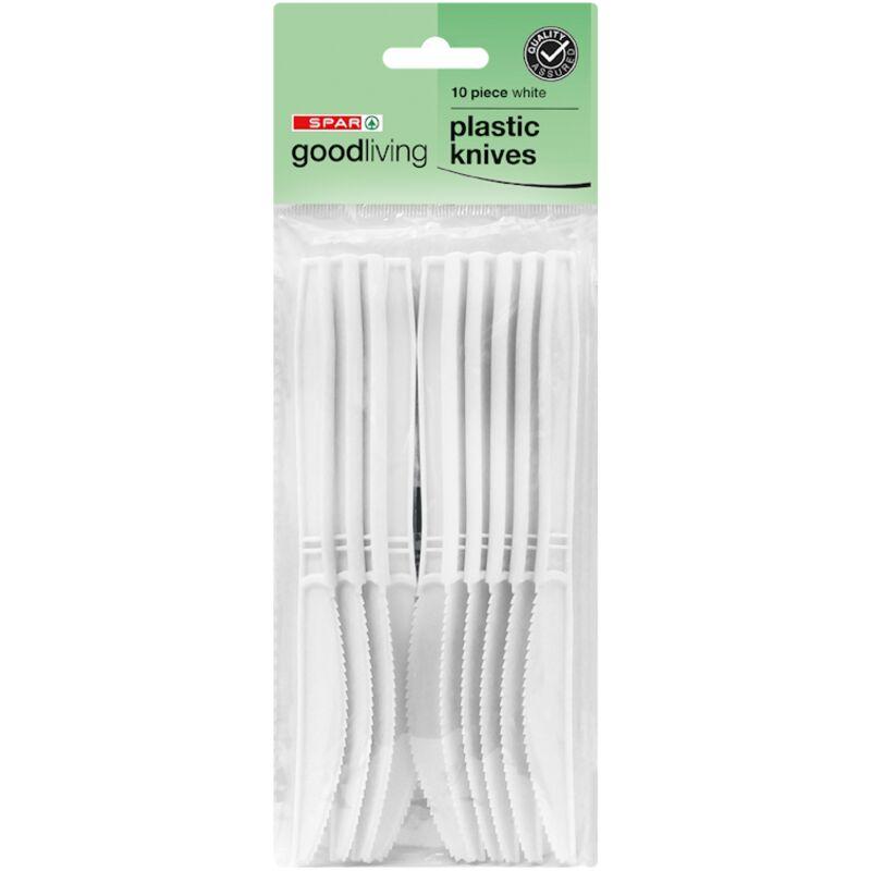 GOOD LIVING PLASTIC KNIVES WHITE – 10S