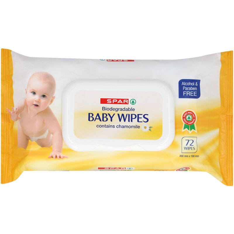 SPAR BABY WIPES BIODEGRADABLE CAMOMILE – 72S
