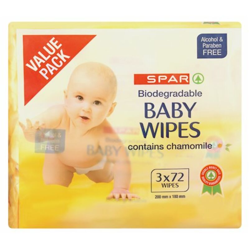 SPAR BABY WIPES BIODEGRADABLE CAMOMILE 3 X72 – 216S