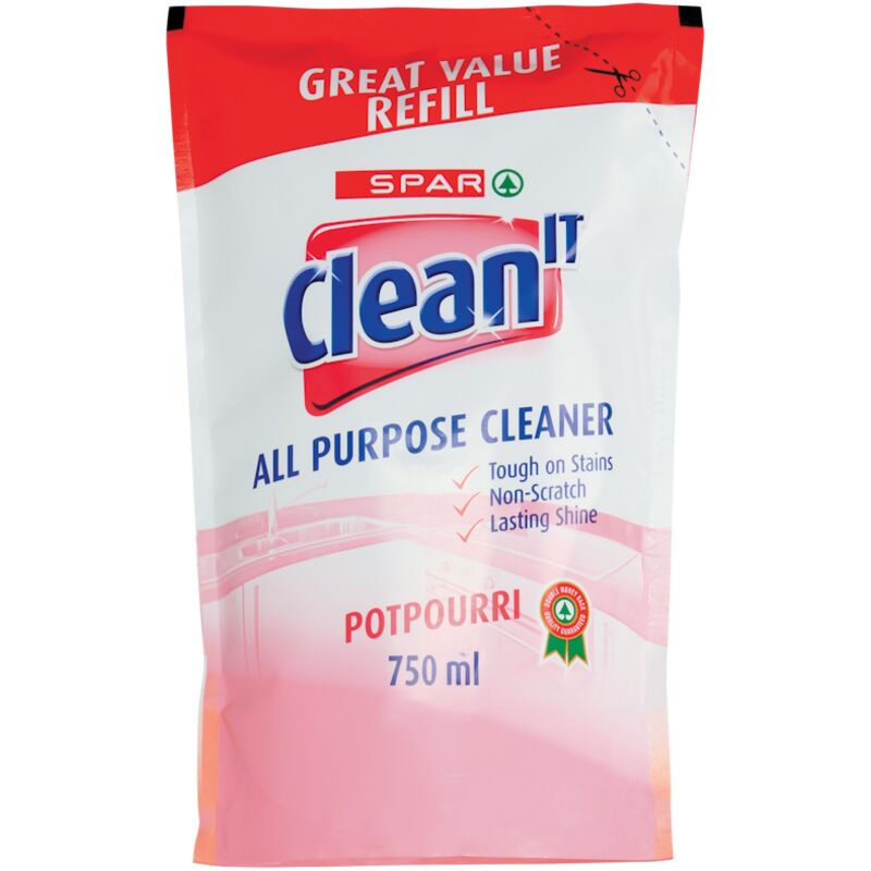 SPAR CLEAN IT ALL PURPOSE CLEANER REFILL POTPOURRI – 750ML