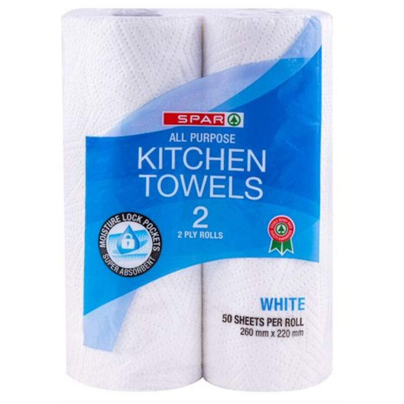 SPAR 2PLY KITCHEN TOWELS WHITE – 2S
