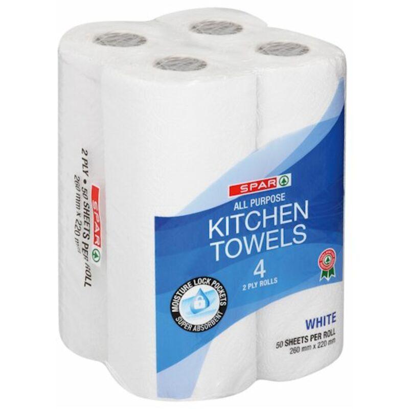SPAR 2PLY KITCHEN TOWELS WHITE – 4S