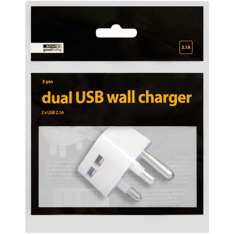 GOOD LIVING USB WALL CHARGER DUAL 3 PIN – 1S