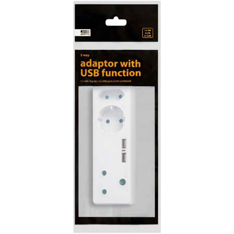GOOD LIVING ADAPTOR WITH USB FUNCTION 3 WAY – 1S