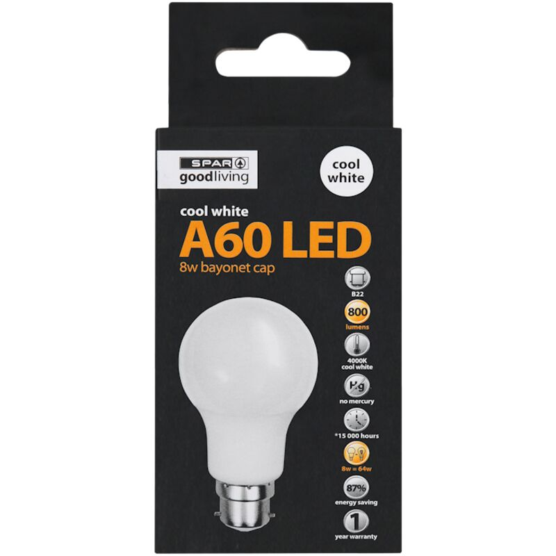 GOOD LIVING LED A60 BC COOL WHITE 8W – 1S