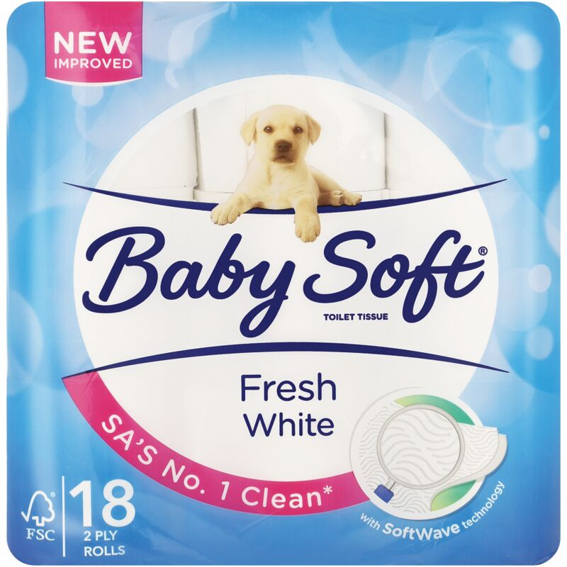 BABY SOFT 2PLY WHITE TOILET PAPER – 18S