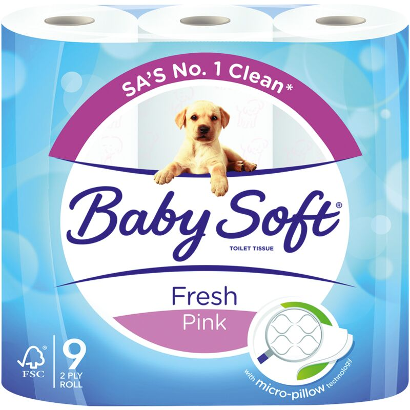 BABY SOFT 2PLY PINK PRINTS TOILET PAPER – 9S