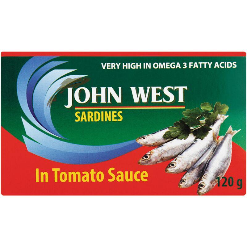 JOHN WEST SARDINES IN TOMATO SAUCE – 120G