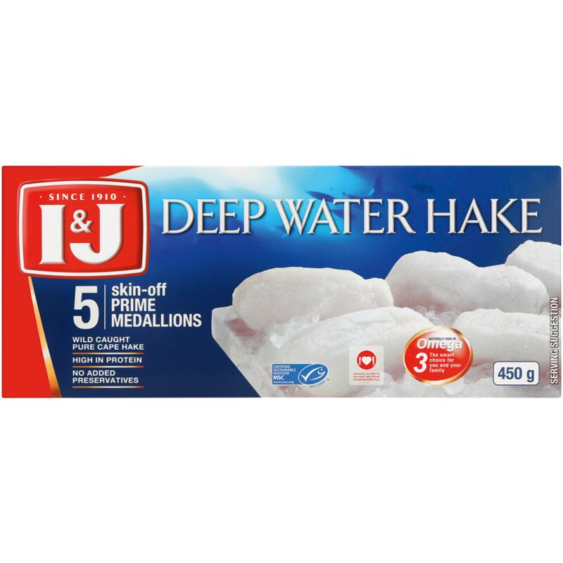I&J DEEP WATER HAKE PRIME MEDALLIONS – 450G
