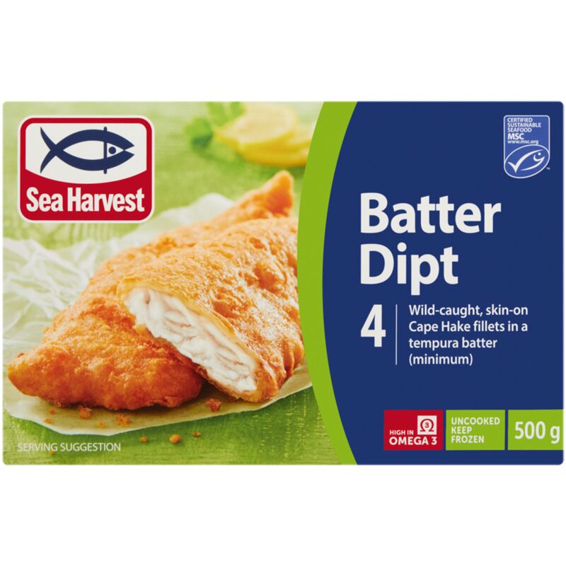 SEA HARVEST HAKE BATTERED DIPT – 500G