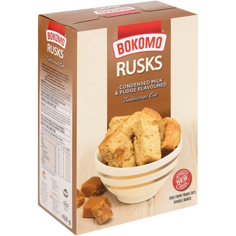 BOKOMO RUSKS CONDENSED MILK & FUDGE – 450G