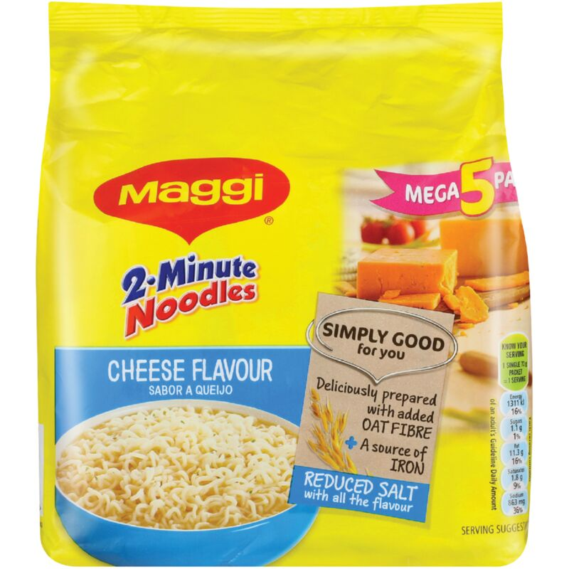 MAGGI 2 MINUTE NOODLES MEGA 5 PACK CHEESE – 5S