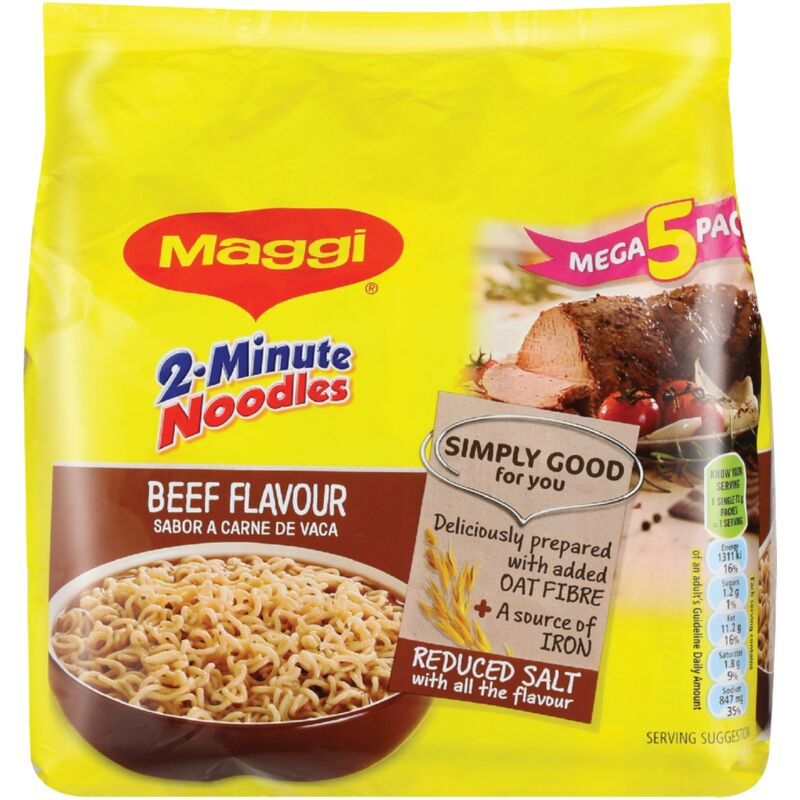 MAGGI 2 MINUTE NOODLES MEGA 5 PACK BEEF – 5S