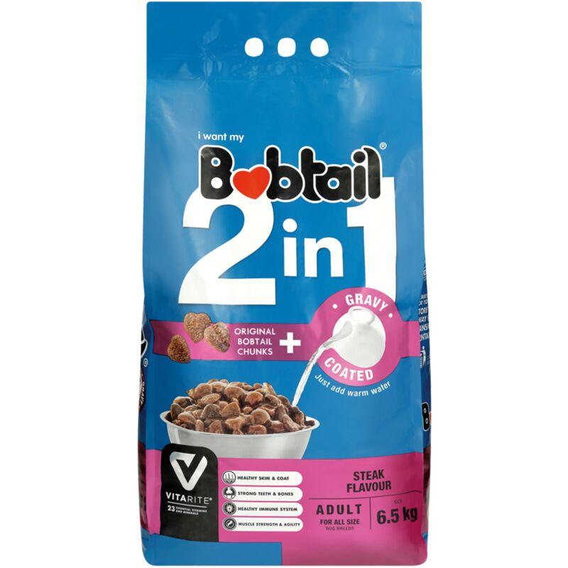 BOBTAIL 2 IN 1 ADULT STEAK GRAVY CHUNKS – 6.5KG