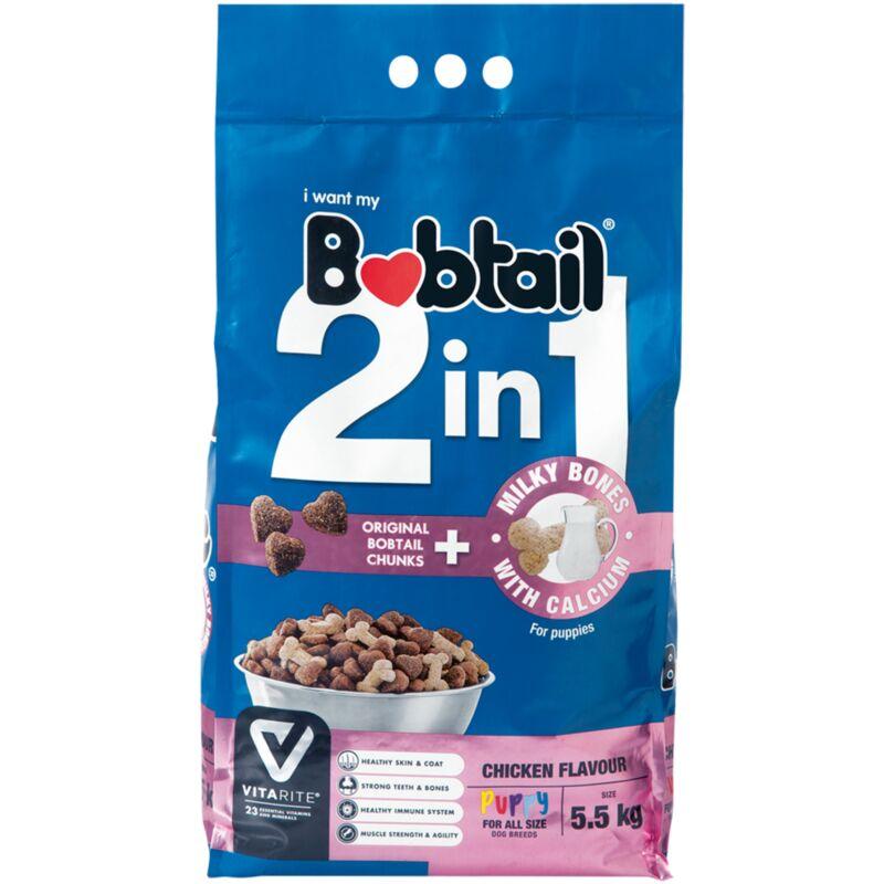BOBTAIL 2 IN 1 PUPPY MILK BONE CHICKEN – 5.5KG