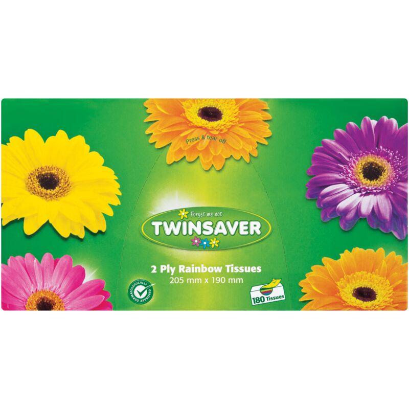 TWINSAVER 2PLY RAINBOW FACIAL TISSUES – 180S