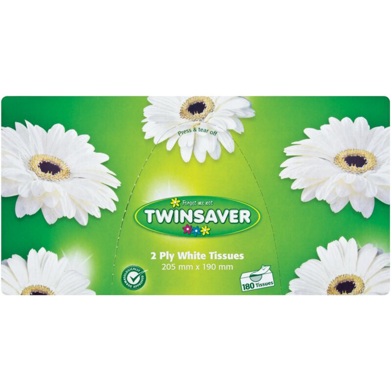 TWINSAVER 2PLY WHITE FACIAL TISSUES – 180S