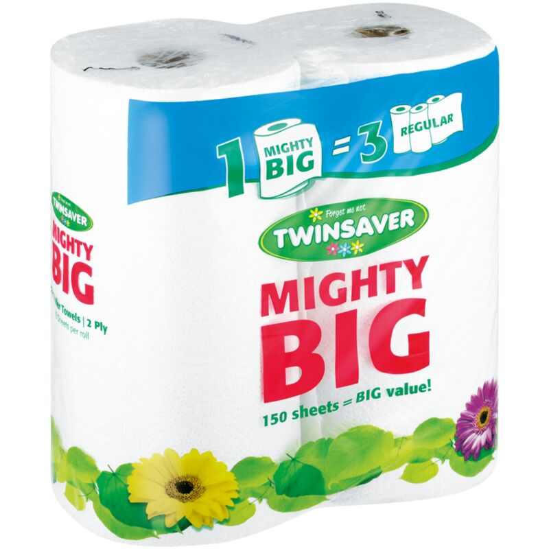 TWINSAVER 2PLY ROLLER TOWEL MIGHTY BIG CLASSIC WHITE – 2S