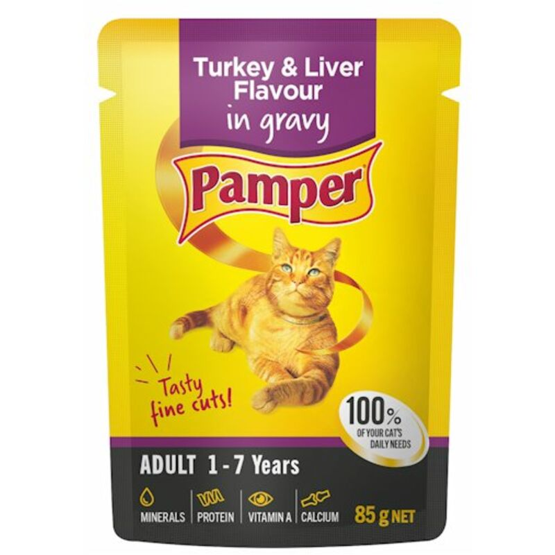PAMPER FINE CUTS TURKEY + LIVER – 85G