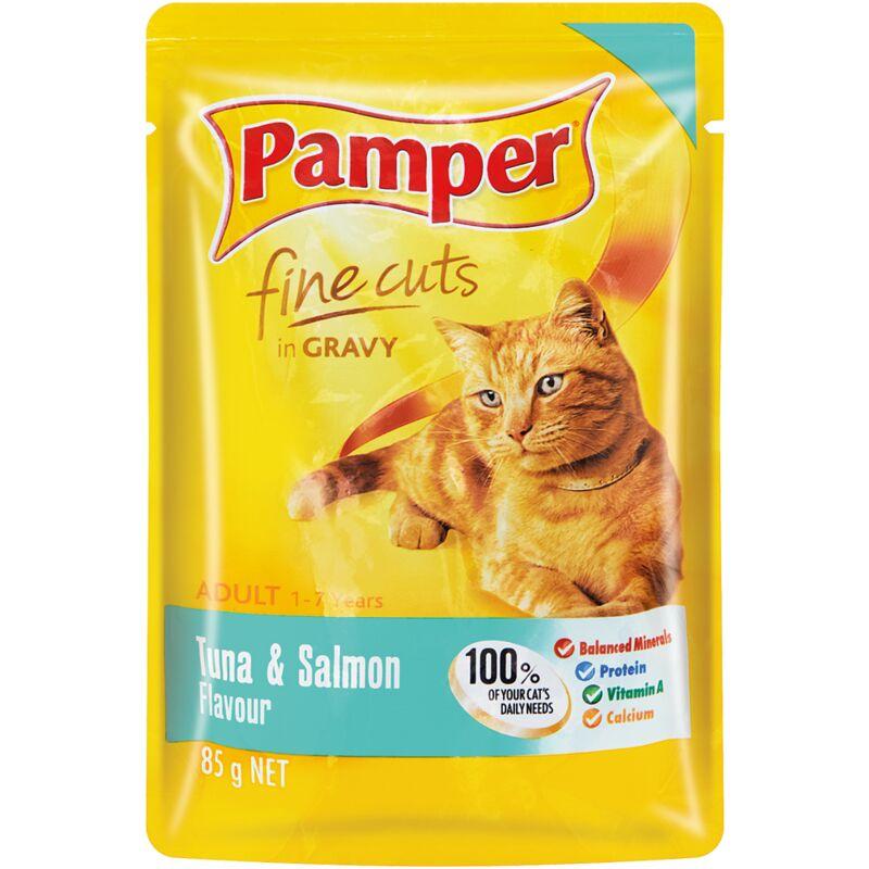 PAMPER FINE CUTS TUNA + SALMON – 85G