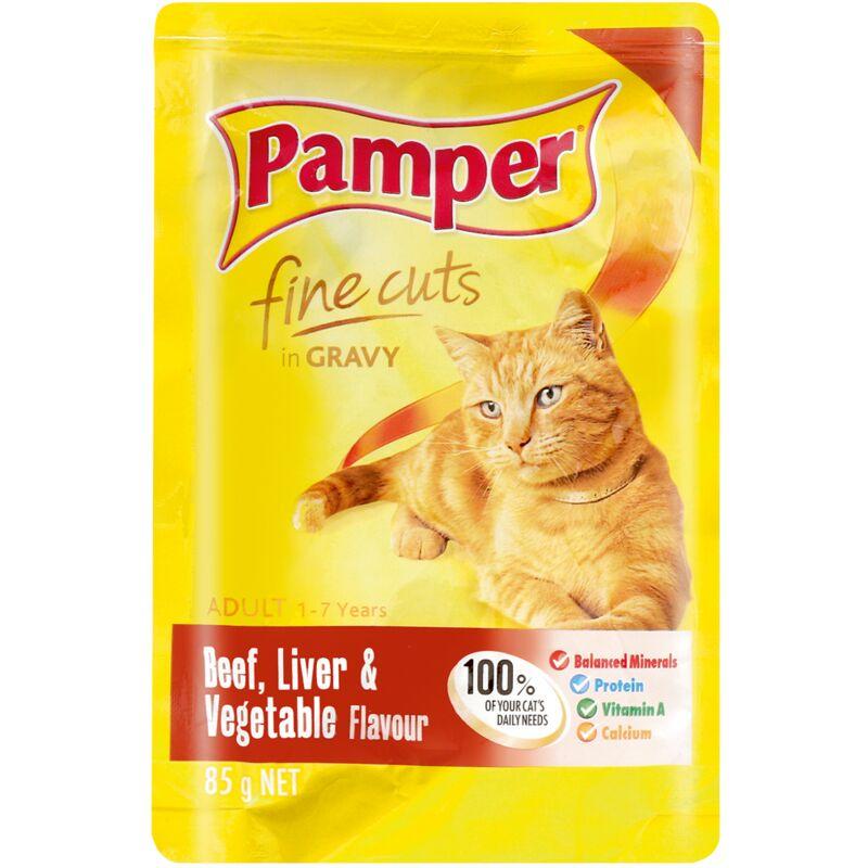 PAMPER FINE CUTS BEEF+LIVER+VEG – 85G