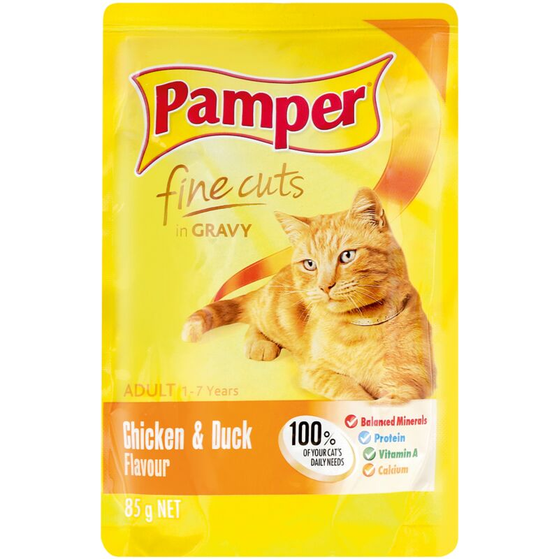 PAMPER FINE CUTS CHICKEN+DUCK – 85G