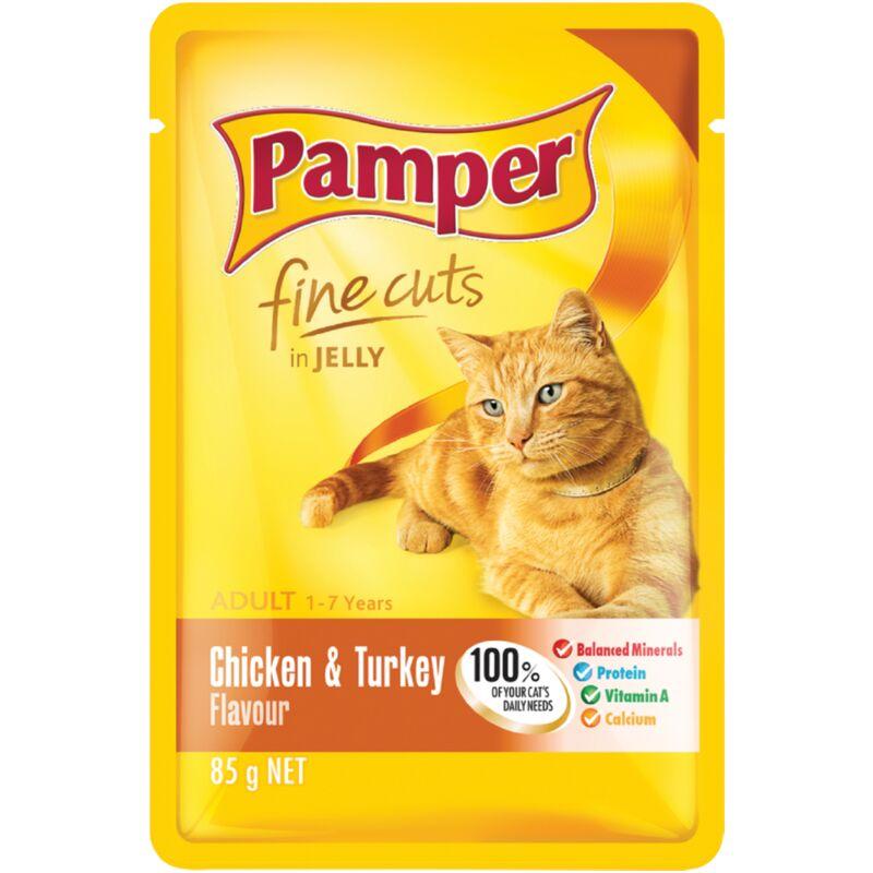 PAMPER FINE CUTS CHICKEN+TURKEY – 85G