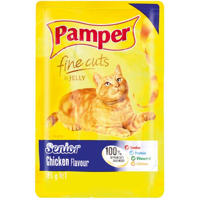 PAMPER FINE CUTS SENIOR CHICKEN – 85G
