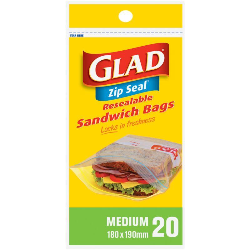 GLAD SANDWICH ZIPPER BAG – 20S