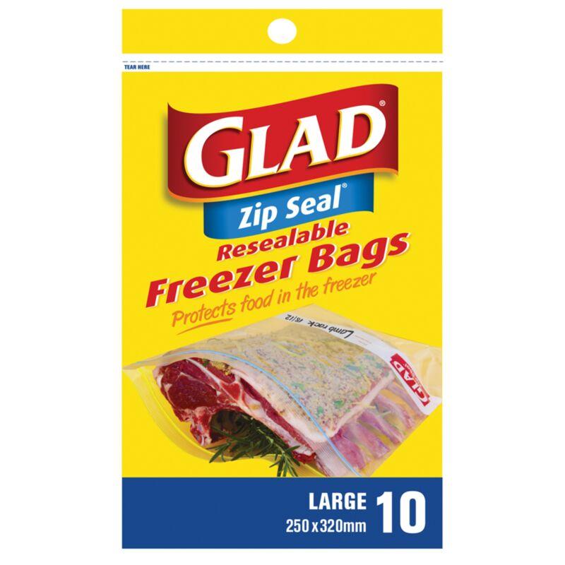 GLAD FREEZER ZIPPER BAGS LARGE – 10S