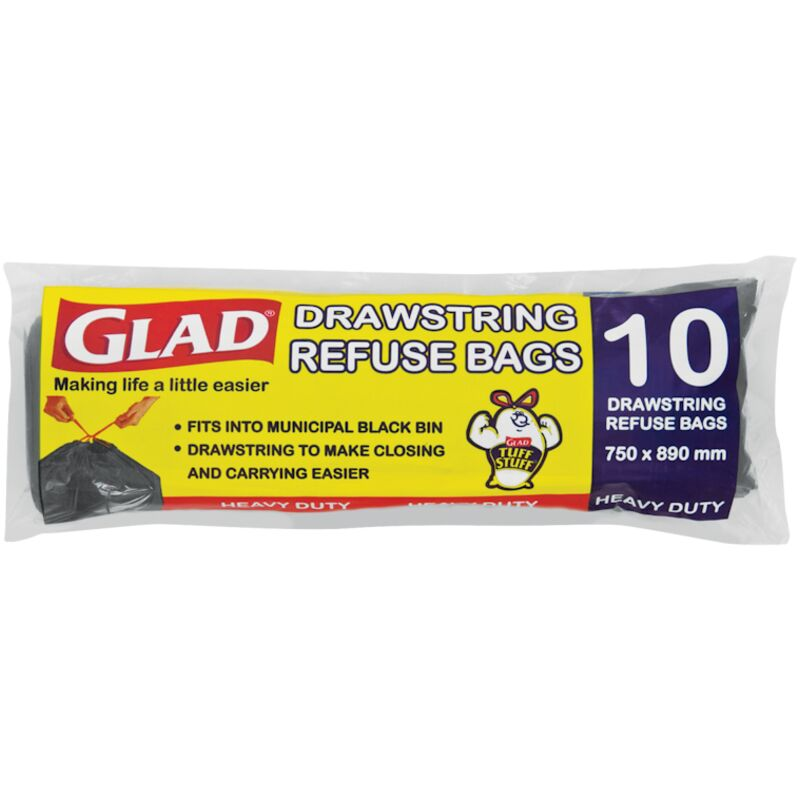 GLAD BIN BAGS DRAW STRING REFUSE BAGS – 10S